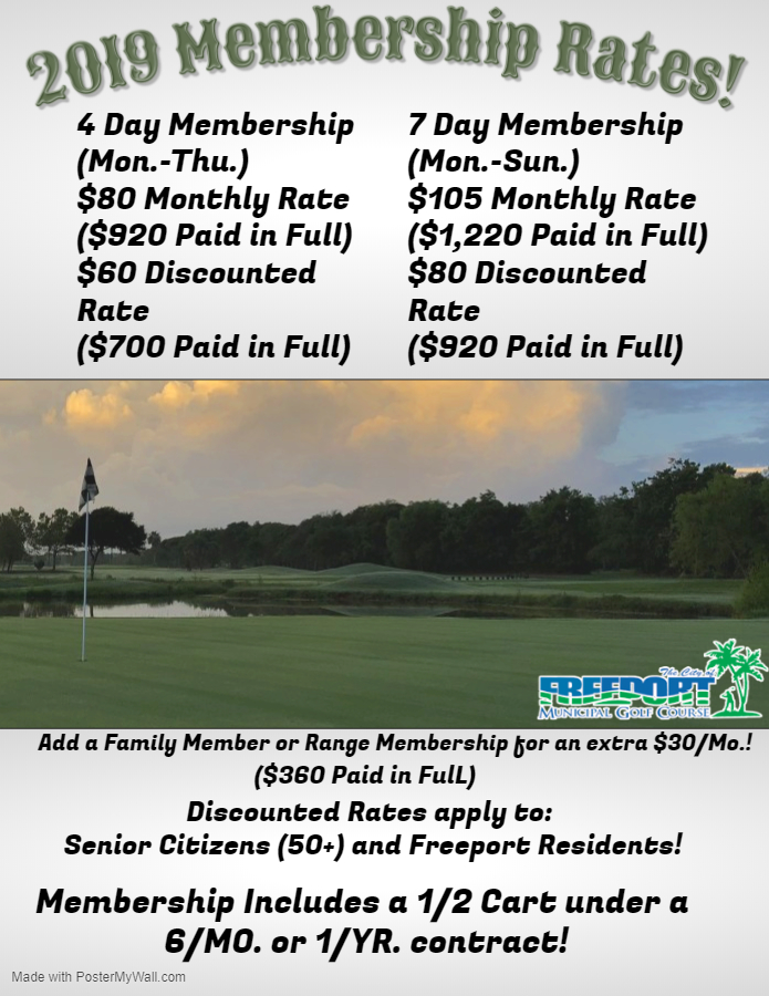 2019 Membership Flyer for Freeport Golf Course
